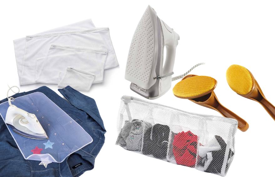 Accessori utili alla cura degli indumenti, per lavare, stirare e ripulire facilmente e senza danni